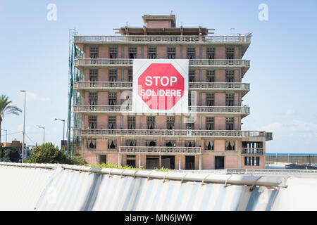 St george hotel with the protest sign of stop solidere in Beirut, Lebanon - Stock Photo
