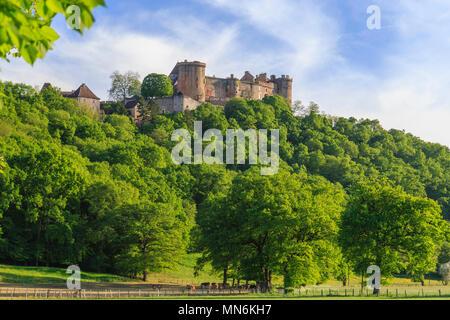 France, Lot, Quercy, Dordogne Valley, Prudhomat, Chateau de Castelnau Bretenoux // France, Lot (46), Quercy, vallée de la Dordogne, Prudhomat, château - Stock Photo
