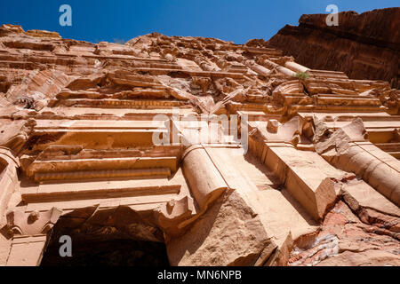 Close up on the Royal Tombs facades in the ancient Nabatean city - Stock Photo