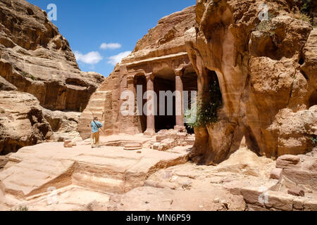 Tourist at Garden Hall in the ancient Nabatean city - Stock Photo