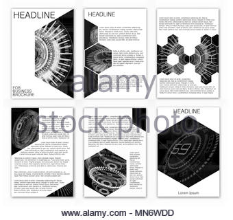 Abstract vector layout background set. Annual Report Cover. White and black a4 brochure cover design. Template for: List, Idea, Booklet, Print, Book - Stock Photo