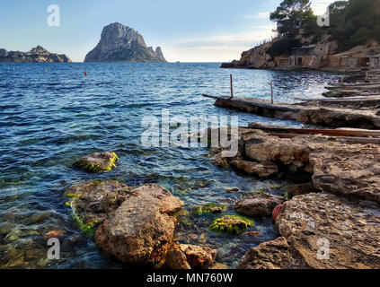 Picturesque view of the mysterious island of Es Vedra. Ibiza Island, Balearic Islands. Spain - Stock Photo