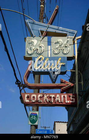 Classic neon sign for bar 36 36 Club Cocktails in Long Beach, CA - Stock Photo