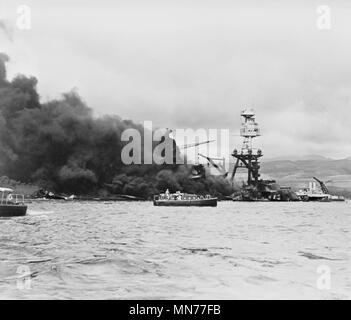 USS Arizona on Fire after Imperial Japanese Navy Air Service Attack, Pearl Harbor Hawaii, Office of Emergency Management, December 7, 1941 - Stock Photo