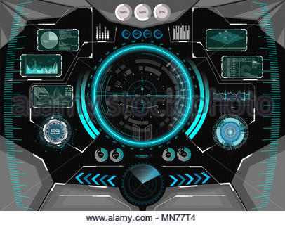 Sci-Fi Futuristic Glowing HUD Display. Vitrual Reality Technology Screen. View from the cockpit spaceship. Vitrual Reality in HUD UI style - Stock Photo