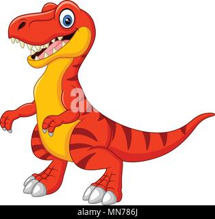 Cartoon tyrannosaurus isolated on white background - Stock Photo