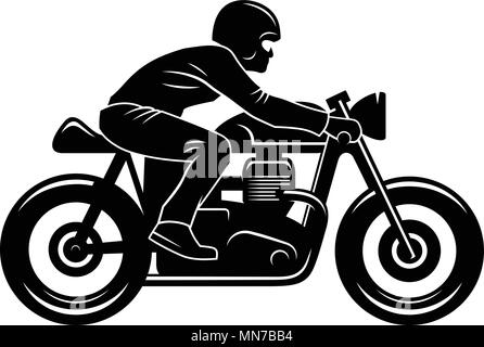 Vector illustration with a Motorcycle Rider and hand-made