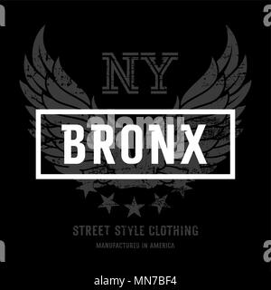 Lettering 'Bronx NY' and American Eagle wings. This illustration can be used as a print on T-shirts and other clothes - Stock Photo