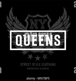 Lettering 'Queens NY' and American Eagle wings. This illustration can be used as a print on T-shirts and other clothes - Stock Photo