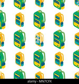 Seamlees pattern with Isometric 3d school  backpack. Vector Back to school background with stationery. Office accessories. - Stock Photo