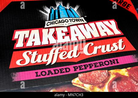 Chicago Town takeaway loaded pepperoni stuffed crust pizza box - Stock Photo