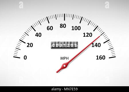 Car speedometer with speed level scale isolated on white. Car tachometer or odometer with speed panel. vector illustration - Stock Photo