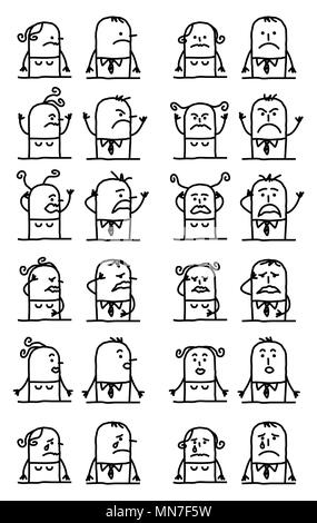 Cartoon Characters Set - Unhappy and Sad Faces - Stock Photo
