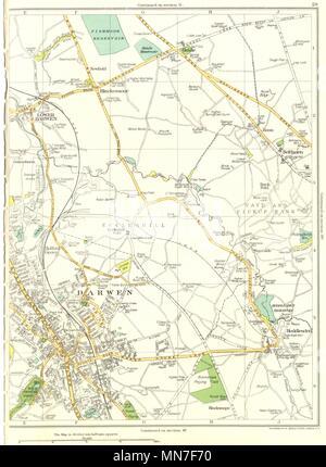 LANCASHIRE.Darwen,Lower,Blackamoor,Belthorn,Hollin's Grove,Hoddlesden 1935 map - Stock Photo
