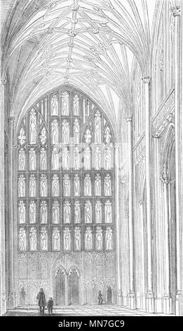 HANTS. Nave of Winchester Cathedral 1845 old antique vintage print picture - Stock Photo