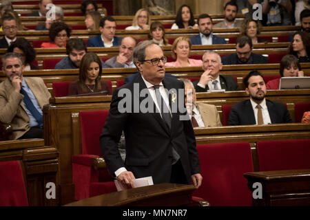 Barcelona, Spain. 14th May, 2018. Junts per Catalunya party candidate for Catalonia regional presidency JOAQUIM TORRA attends the plenary session at Catalan parliament. Credit:  Jordi Boixareu/Alamy Live News - Stock Photo