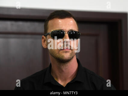 Prague, Czech Republic. 15th May, 2018. The 35-years old Czech waiter which was attacked by Dutch men in Prague on April 21, attends a press conference on the case in Prague, Czech Republic, on May 15, 2018. Credit: Michal Krumphanzl/CTK Photo/Alamy Live News - Stock Photo