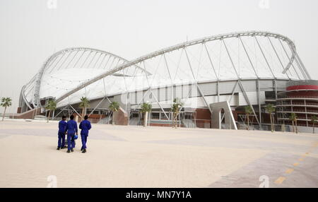 Doha, Qatar. 13th May, 2018. DOHA, QATAR - MAY 13, 2018: A view of Khalifa International Stadium, a venue for 2022 FIFA World Cup football matches. Qatar is to host the FIFA World Cup in late 2022. Mikhail Aleksandrov/TASS Credit: ITAR-TASS News Agency/Alamy Live News - Stock Photo
