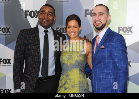 NEW YORK, NY - MAY 14: Cris Carter, Jenna Wolfe and Nick Wright at the 2018 Fox Network Upfront at Wollman Rink, Central Park on May 14, 2018 in New York City. Credit: John Palmer/MediaPunch - Stock Photo