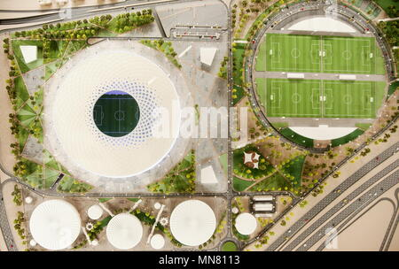 Doha, Qatar. 13th May, 2018. DOHA, QATAR - MAY 13, 2018: A mock-up of Al Thumama Stadium, a venue for 2022 FIFA World Cup football matches, in the city of Al Rayyan, seen at the Headquarters of the Qatar 2022 Local Organising Committee (LOC). Mikhail Aleksandrov/TASS Credit: ITAR-TASS News Agency/Alamy Live News - Stock Photo