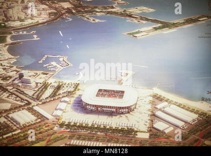 Doha, Qatar. 13th May, 2018. DOHA, QATAR - MAY 13, 2018: A mock-up of Ras Abu Aboud Stadium, a venue for 2022 FIFA World Cup football matches, in the city of Al Rayyan, seen at the Headquarters of the Qatar 2022 Local Organising Committee (LOC). Mikhail Aleksandrov/TASS Credit: ITAR-TASS News Agency/Alamy Live News - Stock Photo