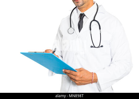 Close up of male medicine doctor writing on clipboard. Medical and healthcare concept - Stock Photo