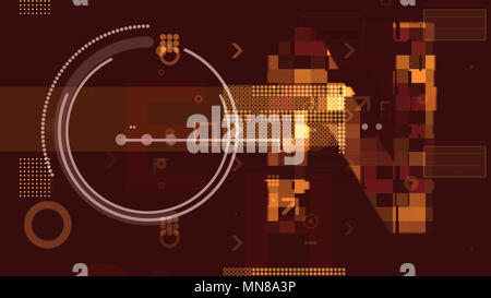 A volumetric 3d illustration of golden technological squares, rectangles, stripes, circles and arrows composing some structures and grids in the dark  - Stock Photo