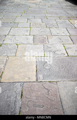 york paving flagstones making up the footpath in the royal crescent Bath England UK - Stock Photo