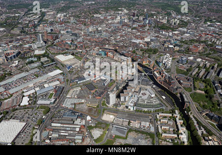 aerial view of Leeds Dock with Leeds city centre skyline in the background, UK - Stock Photo