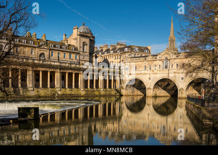 Cityscape of Bath depicting St Michael's Without Church, Pultney Bridge and River Avon, Somerset, UK - Stock Photo