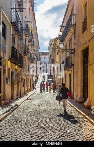 Bairro Alto Lisbon, view of a street in the historic Bairro Alto quarter of Lisbon, Portugal. - Stock Photo