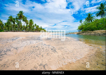 Beautiful palm-lined beach with river flowing out to sea in Bahia, Brazil. - Stock Photo
