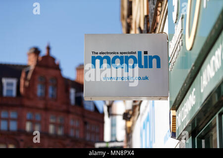 A Maplin on the high street in the United Kingdom in 2018 / Maplin logo, Maplin sign, Maplins. - Stock Photo