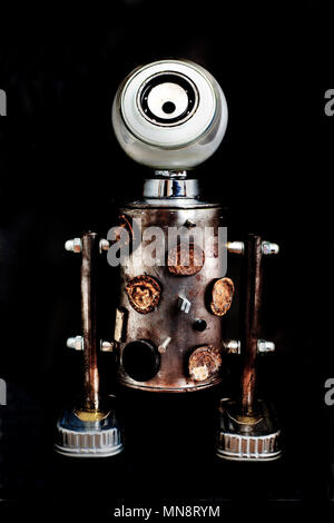 Toy robot made from recycled materials. - Stock Photo