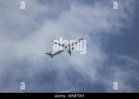 CHIANG MAI, THAILAND - MAY 13 2018:  HS-LSH Boeing 737 MAX 9 of Thai lion Air airline. Take off from Chiangmai airport to Bangkok. - Stock Photo