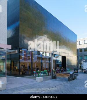 Vaduz, Liechtenstein - October 19, 2017: Modern architecture building of Museum of Fine Arts (Kunstmuseum) - Stock Photo