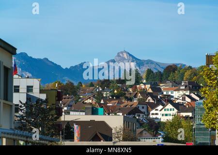 Vaduz, Liechtenstein - October 19, 2017: General view of the city houses and streets - Stock Photo