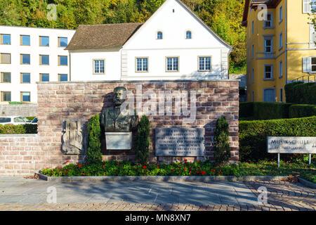 Vaduz, Liechtenstein - October 19, 2017: Monument to the musician and composer Josef Gabriel Rheinberger - Stock Photo