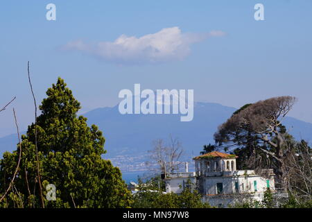 View of Mount Vesuvius, from Sorrento Hotel, Italy - Stock Photo