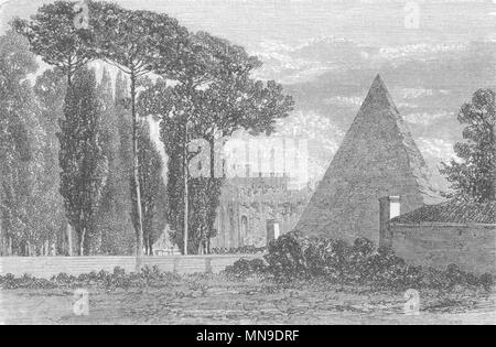 ROME. Pyramid of Cestius 1872 old antique vintage print picture - Stock Photo