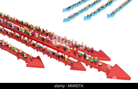 Crowd of small symbolic figures, movement arrows, 3d illustration, isolated, horizontal, over white - Stock Photo