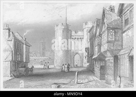 KENT. West Gate, Canterbury, Kent c1840 old antique vintage print picture - Stock Photo