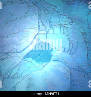 Icy cracked surface blue abstract 3d illustration, horizontal, background