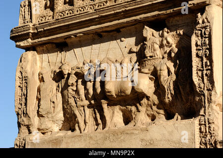 italy, rome, roman forum, arch of titus, north panel bas relief, titus as triumphator on a quadriga or four horsed chariot, attended by various genii  - Stock Photo