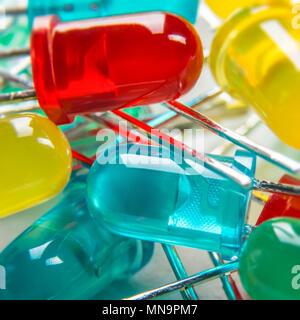 Extreme close up of led (Light-emitting diodes). Colorful electronic background. - Stock Photo