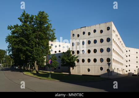 Research Library (Studijní a vědecká knihovna) in Hradec Králové in Eastern Bohemia, Czech Republic. The building designed by Czech architects Roman Brychta, Adam Halíř, Ondřej Hofmeister and Petr Lešek was built in 2004-2008. - Stock Photo
