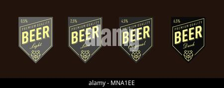 Beer Label Design. set. Label for live, original, light, dark beer. - Stock Photo