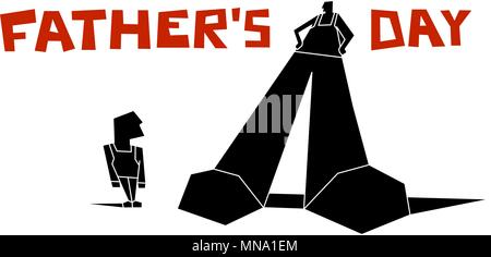 Big father and little son. Silhouette. poster with inscription for fathers Day. man and boy. constructivism - Stock Photo