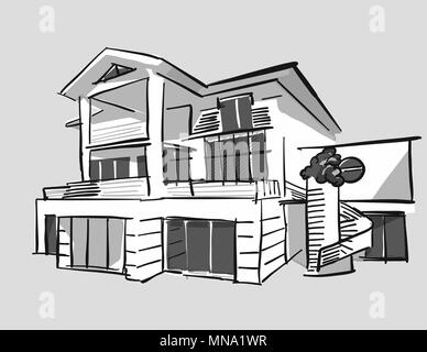 Grayscale Drawing Dream House Hand Drawn Vector Outline Black Pen On White Ground