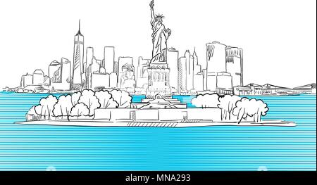 Liberty Statue with New York City Skyline Sketch, Hand drawn Vector Outline Artwork - Stock Photo